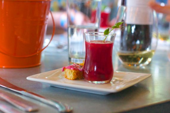 Strawberry Beet Consomme at Basi Italia by Angela Roberts