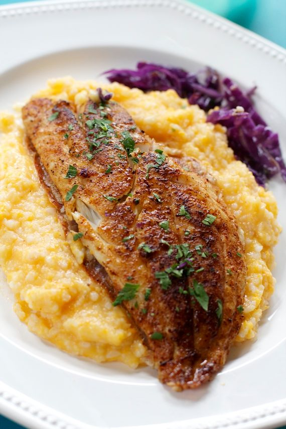 healthy fish and grits snapper with sweet potato grits