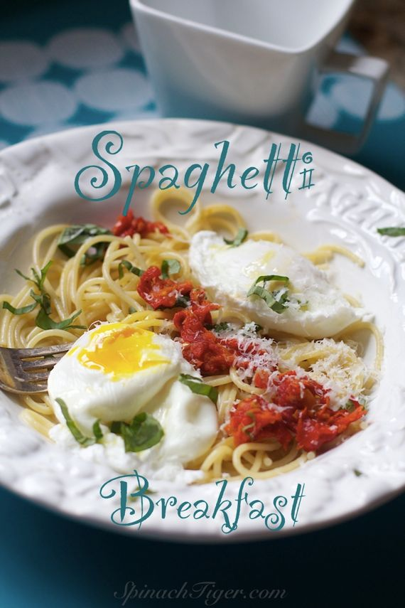 Spaghetti for Breakfast with Poached Eggs and Tomato Jam