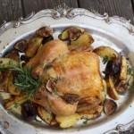 Roast Chicken with Figs, Shallots, Mustard Rosemary Potatoes