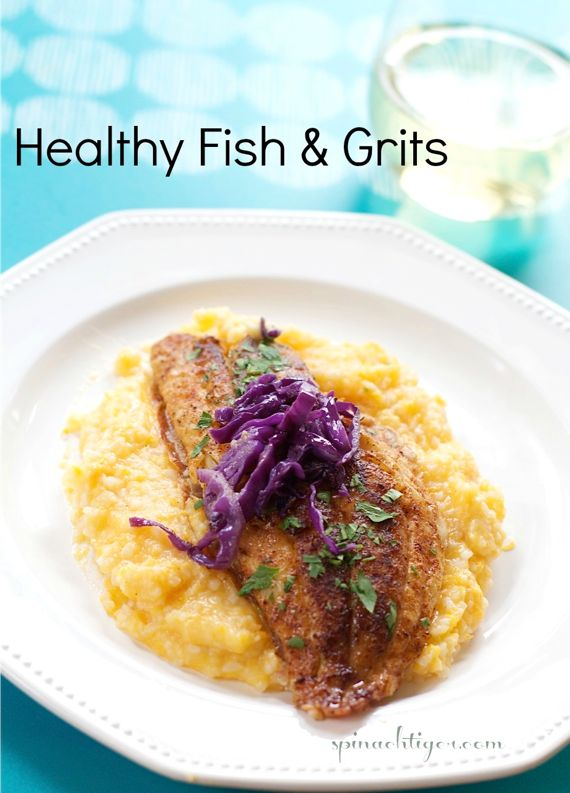 Easy Fast Dinner Recipes: Fish & Grits from Spinach Tiger
