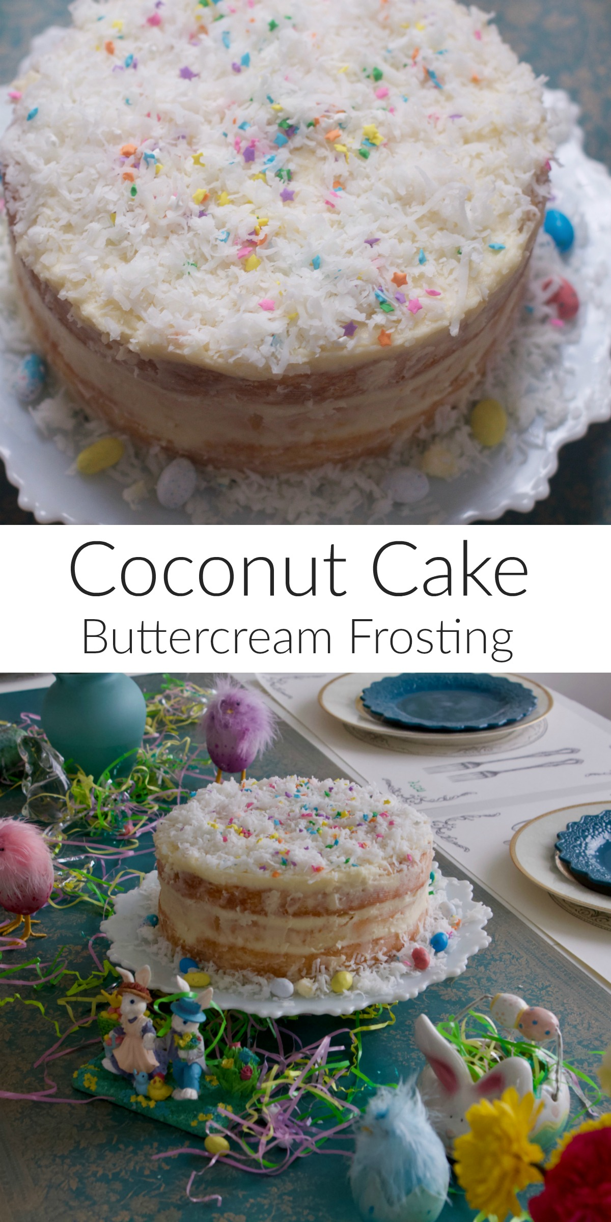 Easter Coconut Cake with Buttercream Frosting from Spinach Tiger