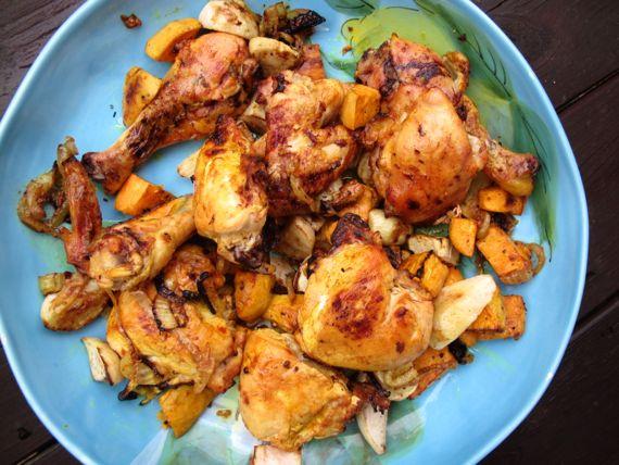 Chicken Thighs, Lemon, Onions, Turmeric, Sweet Potatoes