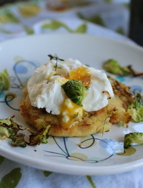 Brussels Sprouts Potato Cake with Ruffled Eggs by Angela Roberts