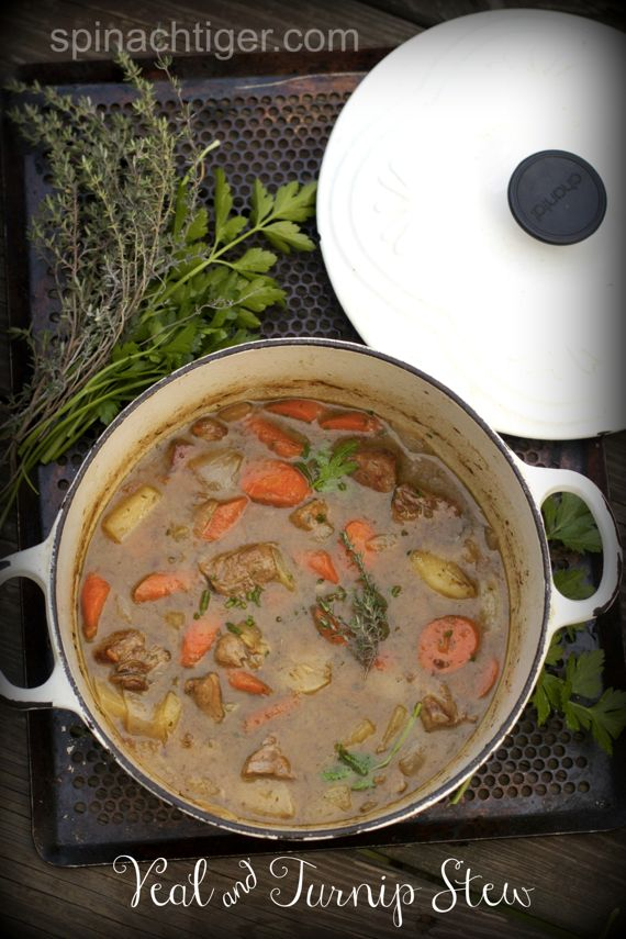 Veal  and Turnip Stew with White Wine