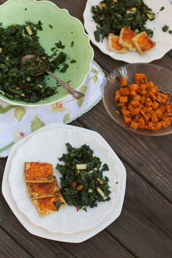 Nashville Hot Tofu with Kale Apple Salad by Angela Roberts
