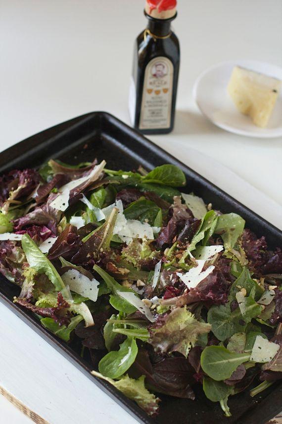 Roasted Salad of Spring Greens, Hazelnuts, Pecorino