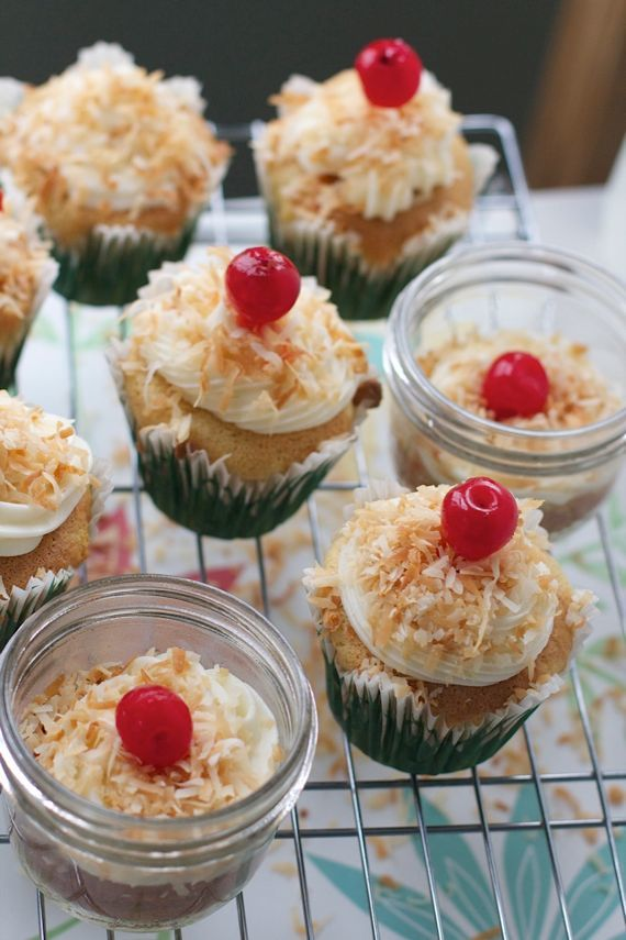Pineapple Cupcakes with Toasted Coconut in a Jar or No Jar