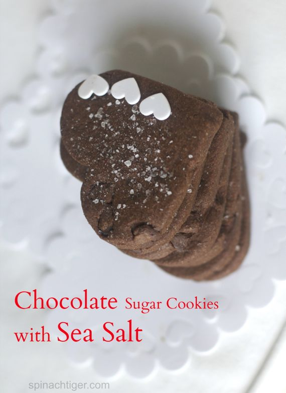 Chocolate Heart Shaped Sugar Cookies with Sea Salt and Ice Cream Sandwiches