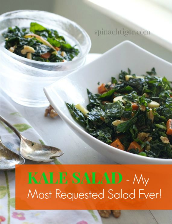 Kale & Apple Salad with Maple Cider Vinaigrette for National Kale Day by Angela Roberts
