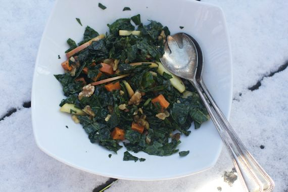 Post image for Kale and Apple Salad with Golden Raisins, Maple Pecans, and a Cider Maple Vinaigrette Salad Dressing