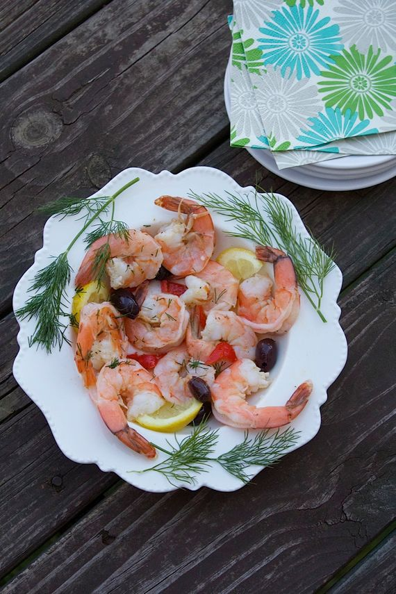 Poached Lemon Dill Shrimp Appetizer