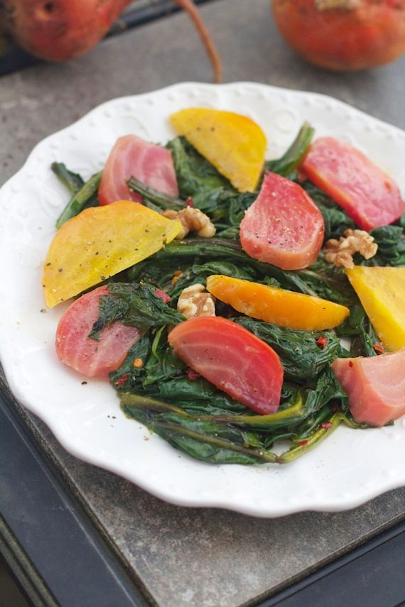 Beet Greens and Candy Striped and Golden Beet Salad