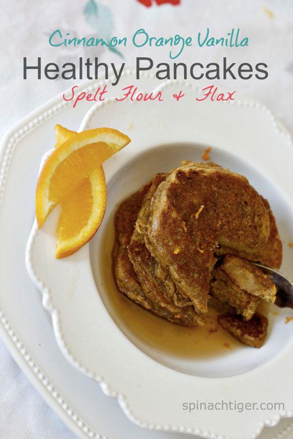 Spelt Flax Pancakes with Cinnamon, Vanilla Orange Zest
