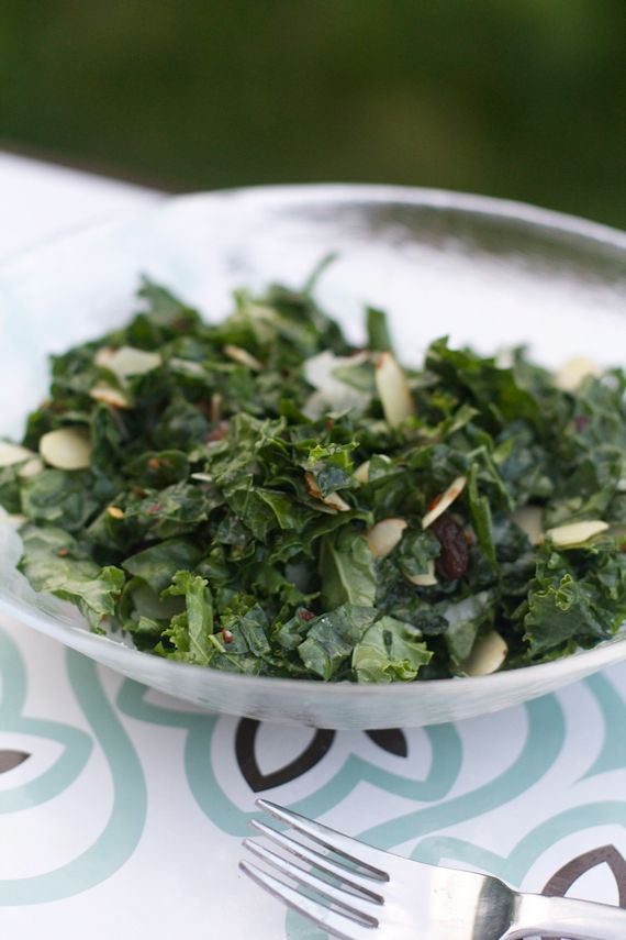 Tuscan Kale Salad, Raisins, Pecorino, Almonds, Lemony Salad Dressing by Angela Roberts