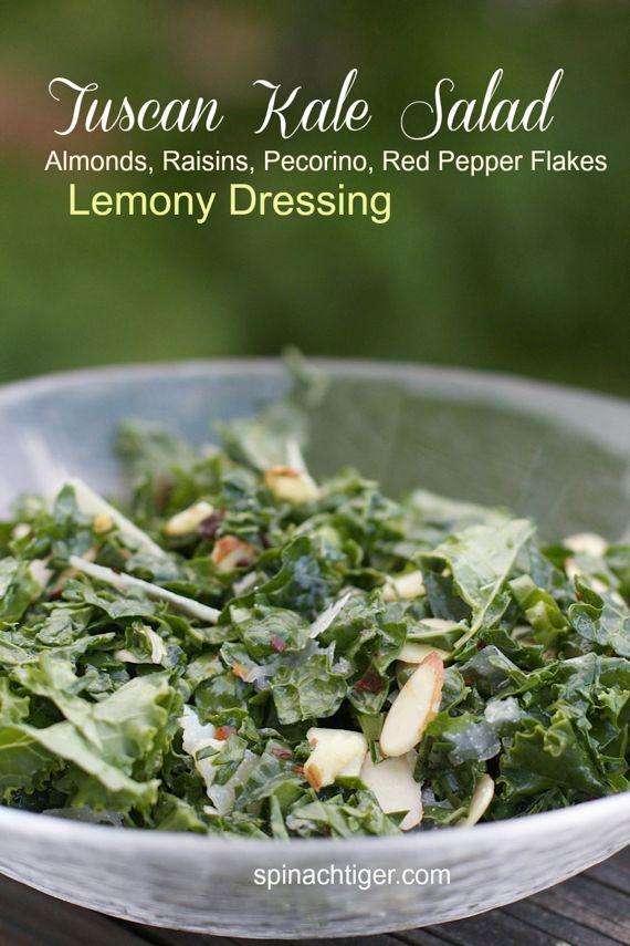 Tuscan Kale Salad, Raisins, Almonds, Pecorino, Lemony Salad Dressing