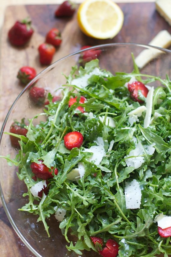 Arugula, Strawberries, Manchego Cheese by Angela Roberts