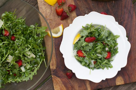 Arugula with Strawberries & Manchego by Angela Roberts