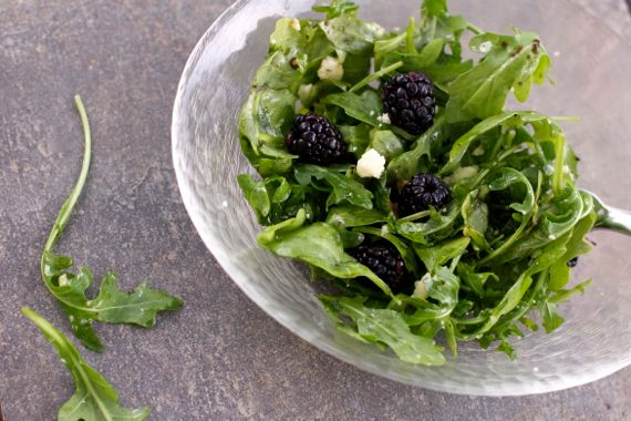 Arugula Blackberries Manchego by Angela Roberts