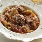 Paparadelle, Prosciutto Meatballs, Chunky Tomato Sauce by Angela Roberts
