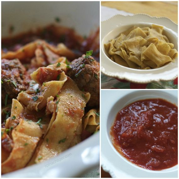 Papparadelle with Prosciutto Meatballs, Chunky Tomato Sauce 1 by Angela Roberts