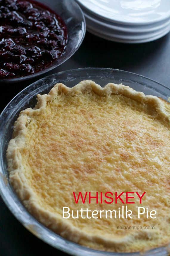 Whiskey Buttermilk Pie with Blackberry Compote