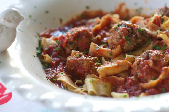 Paparadelle with Prosciutto Meatballs, Chunky Tomato Sauce 4 by Angela Roberts