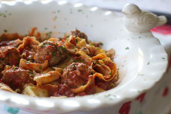 Paparadelle with Prosciutto Meatballs, Chunky Tomato Sauce by Angela Roberts