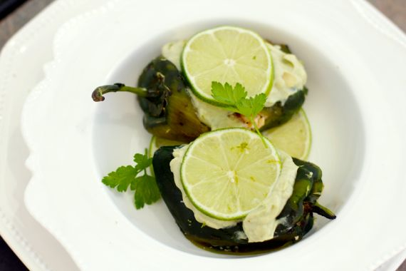 Chicken Stuffed Poblano with Avocado Sauce by Angela Roberts