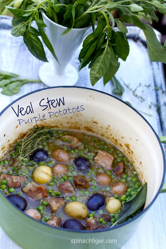 Veal Stew with Onion Sauce, Sage, Peas and Purple Potatoes on the Lighter Side