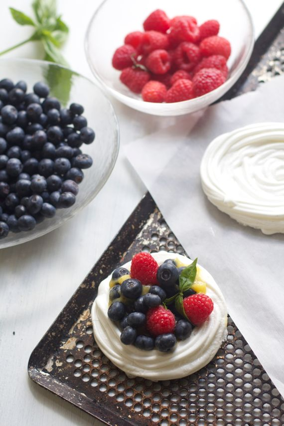 Pavlova Cups with Basil Lime Cream and Berries by Angela Roberts