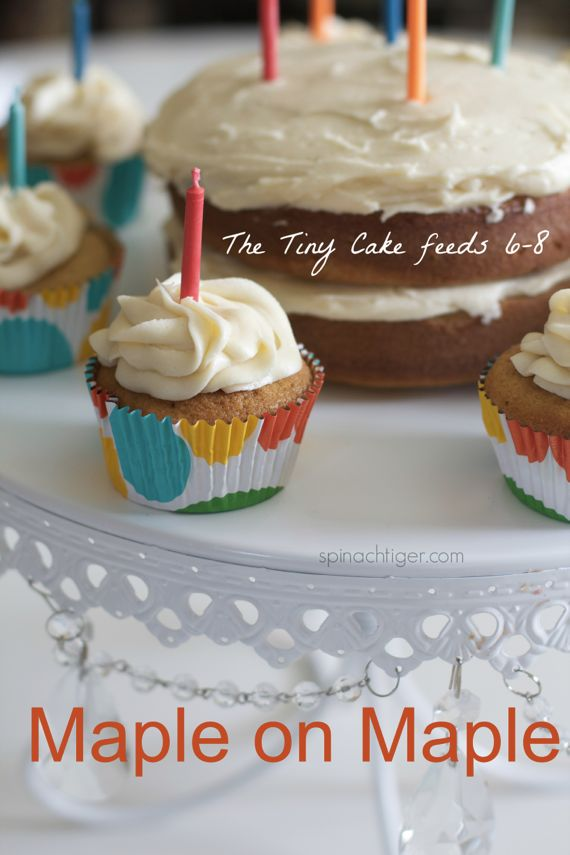 A Tiny Maple Cake or Maple Cupcakes with Maple Frosting, Candied Bacon