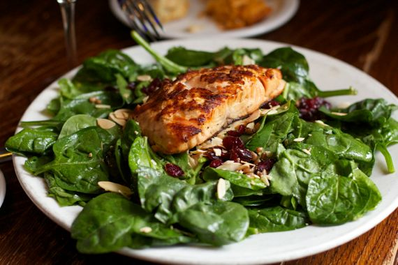 Salmon Spinach Salad at Saffire Restaurant by Angela Roberts