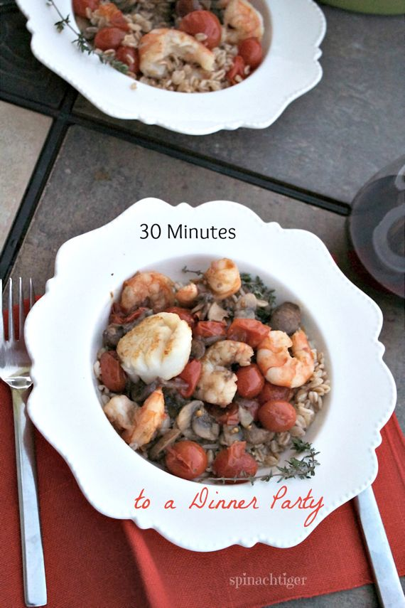 Shrimp, Mushrooms, Tomato, Barley for a Thirty Minute One Dish Dinner