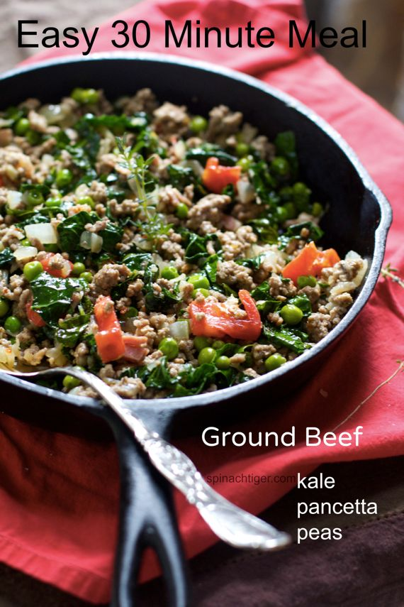 Ground Beef Italian Style with Kale, Pancetta, Peas by Angela Roberts