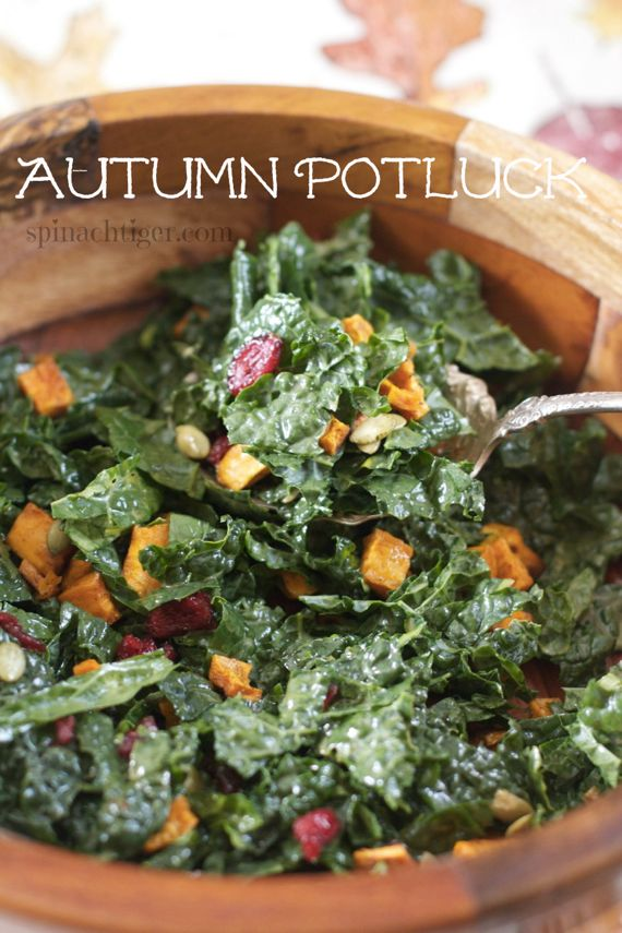 Autumn Potluck Salad: Sweet Potatoes, Kale, Honey Mustard Vinaigrette
