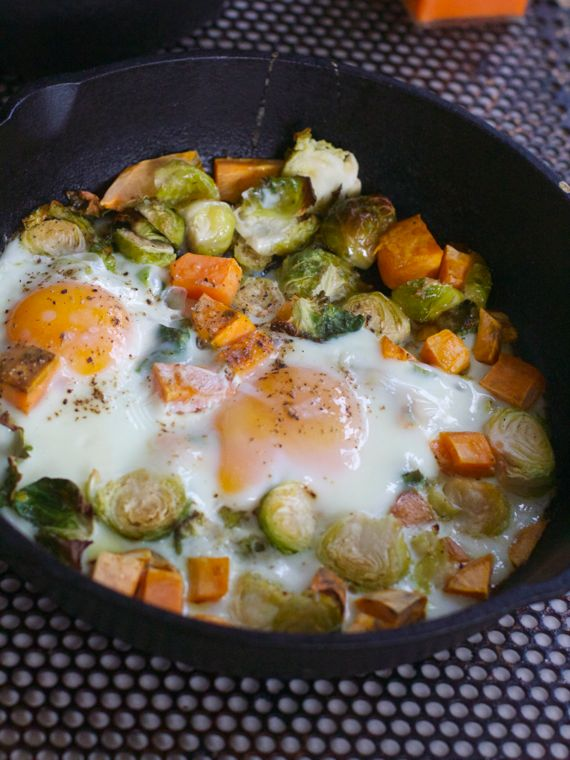 Baked Eggs With Sweet Potato And Brussels Sprouts Hash