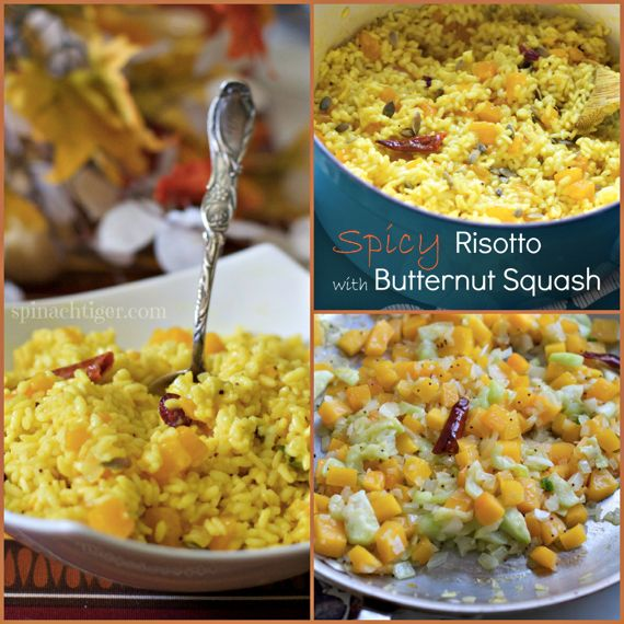 Boozy Spicy Autumn Risotto with Butternut Squash by Spinach Tiger