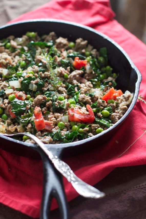 Italian Ground Beef, Kale, Pancetta, Peas, by Angela Roberts