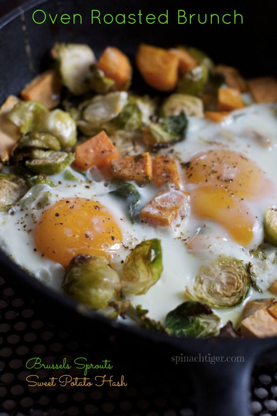 Autumn Brunch: Baked Eggs with Sweet Potato and Brussels Sprouts Hash