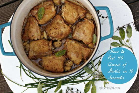 Chicken Thighs with 40 cloves garlic and video how to peel garlic in 10 seconds by angela Roberts
