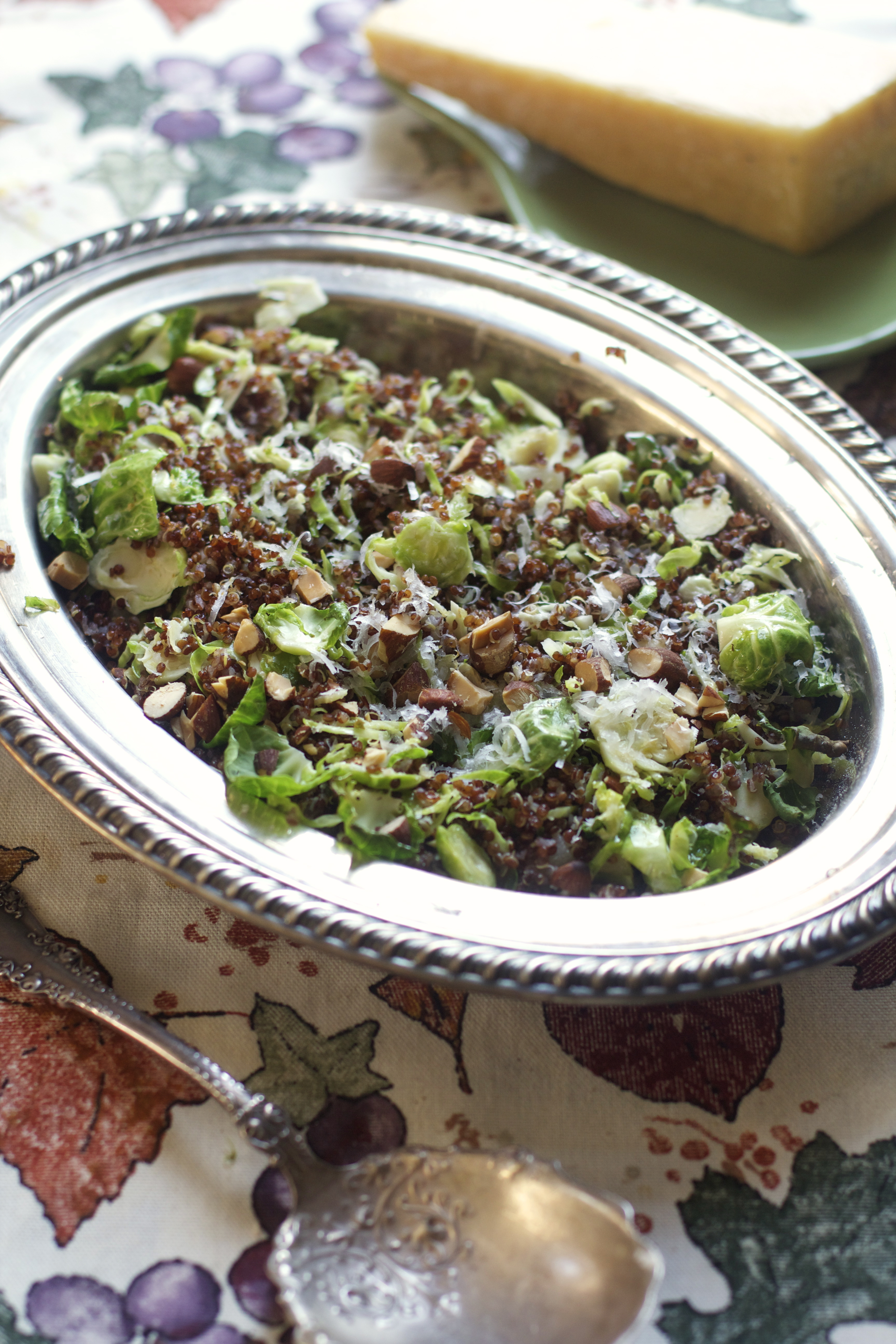 Shredded Brussels Sprouts Salad with Toasted Red Quinoa, Parmigiano Reggiano