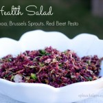 Super Antioxidant Salad: Shaved Raw Brussels Sprouts with Raw Red Beet Pesto by angela roberts