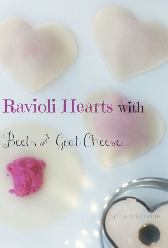 Make Heart Shaped Beet & Goat Cheese Ravioli with Won Ton Wrappers