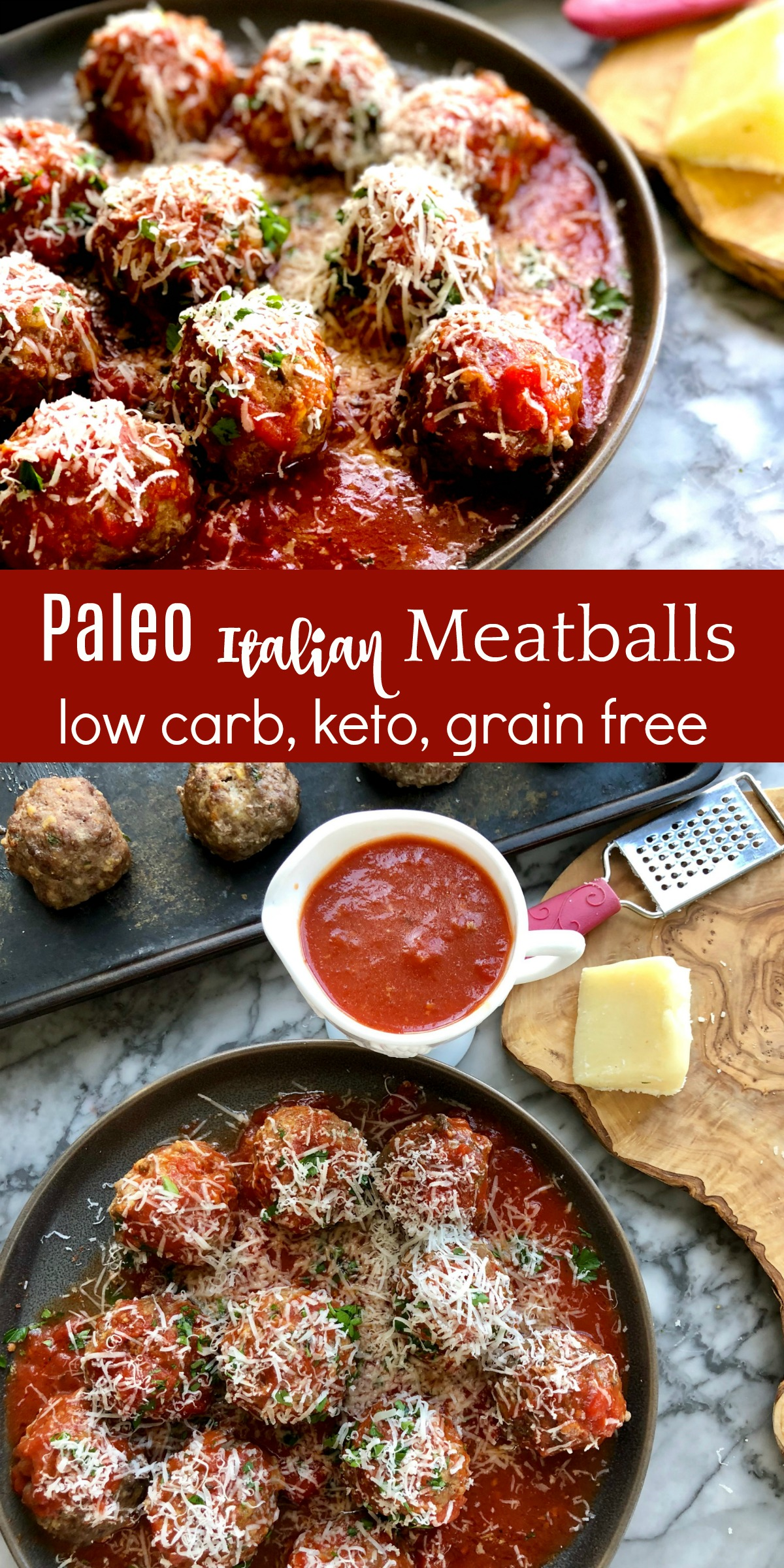Paleo Meatballs for a grain free, keto friendly dinner. Also loves mozzarella and ricotta cheese. #paleomeatballs #ketomeatballs #spinchtiger via @angelaroberts