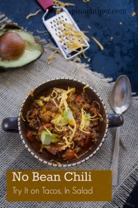 No Bean Chili Made with Ground Beef and Sausage by Angela Roberts