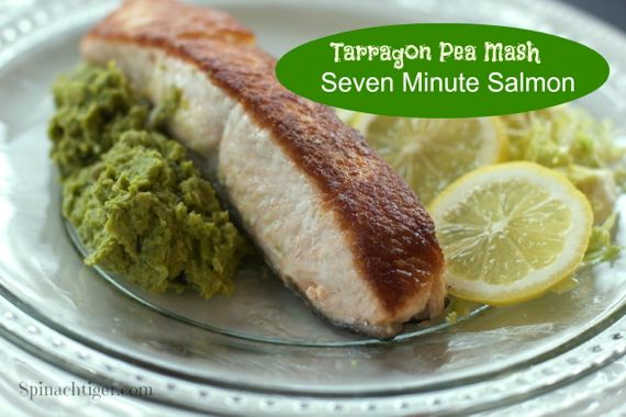 Tarragon Basil Pea Mash with Crispy Pan Fried Salmon (Paleo Friendly)