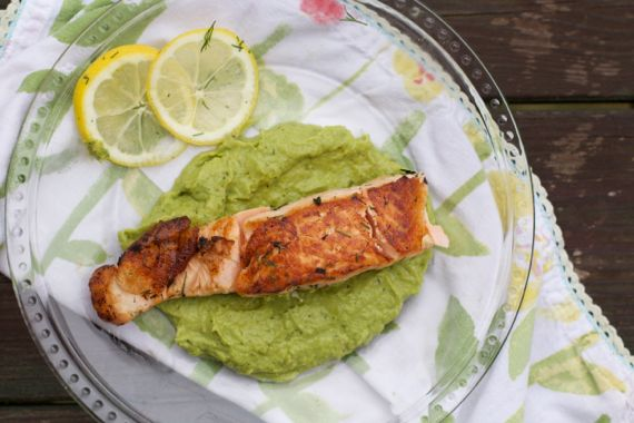 Avocado Pea Mash with Seared Salmon by angela roberts
