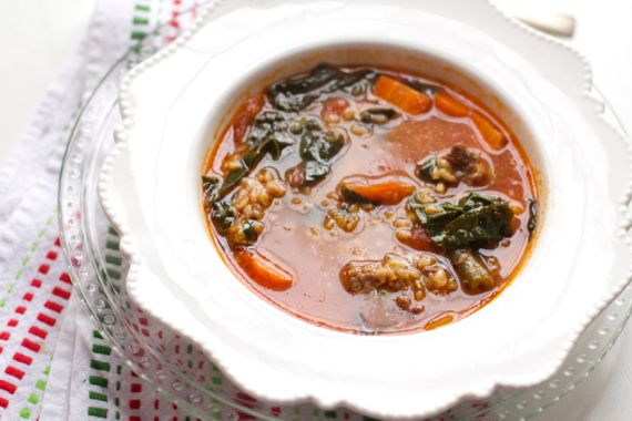 Tomato Beef Soup with Einkorn Wheat Berries and Bone Broth 3 by Angela Roberts