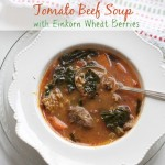 Tomato Beef Soup with Einkorn Wheat Berries and Bone Broth by Angela Roberts
